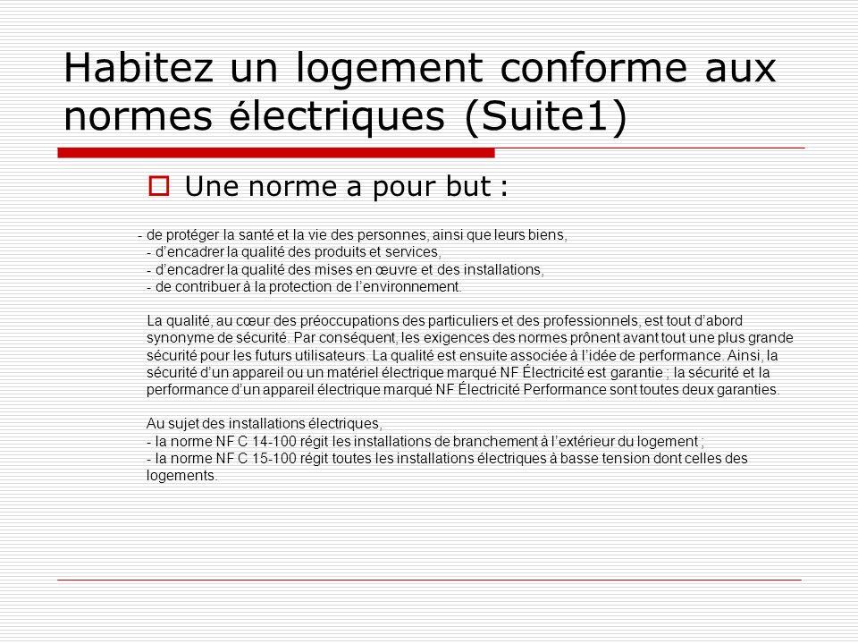 Habitez un logement conforme aux normes électriques (Suite1)