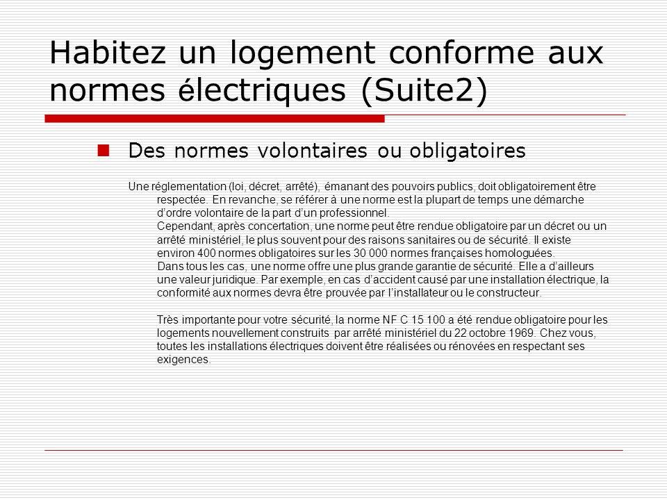 Habitez un logement conforme aux normes électriques (Suite2)