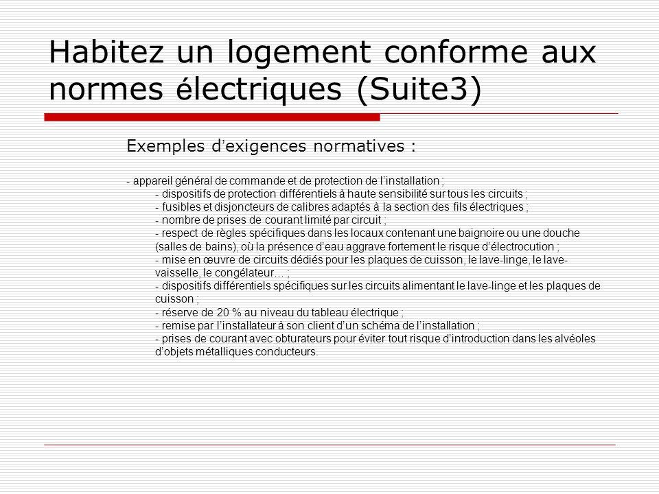 Habitez un logement conforme aux normes électriques (Suite3)