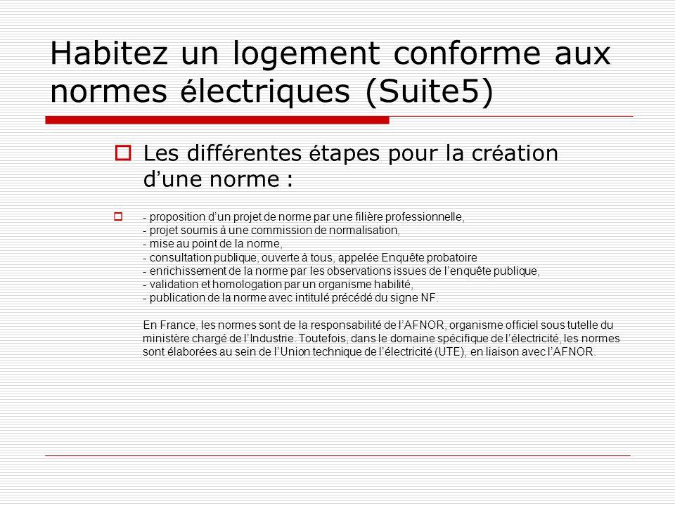 Habitez un logement conforme aux normes électriques (Suite5)