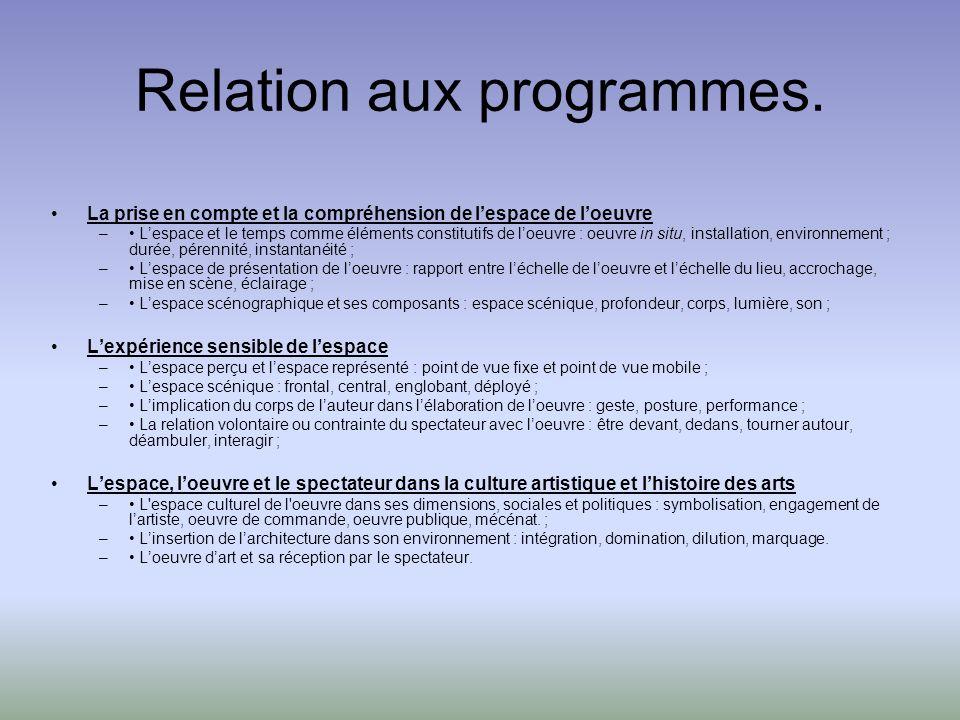 Relation aux programmes.