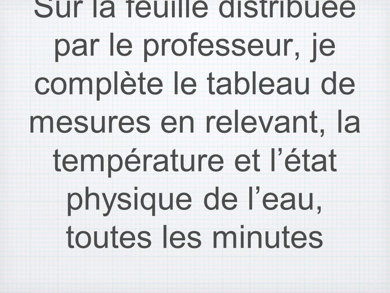 Sur la feuille distribuée par le professeur, je complète le tableau de mesures en relevant, la température et l'état physique de l'eau, toutes les minutes
