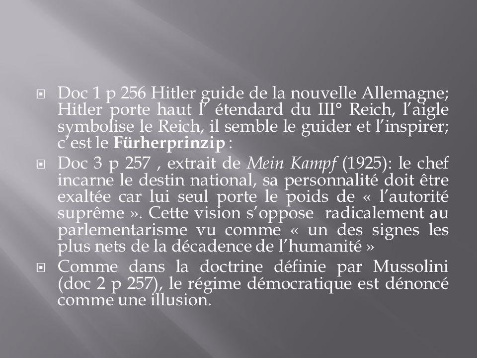 Doc 1 p 256 Hitler guide de la nouvelle Allemagne; Hitler porte haut l' étendard du III° Reich, l'aigle symbolise le Reich, il semble le guider et l'inspirer; c'est le Fürherprinzip :