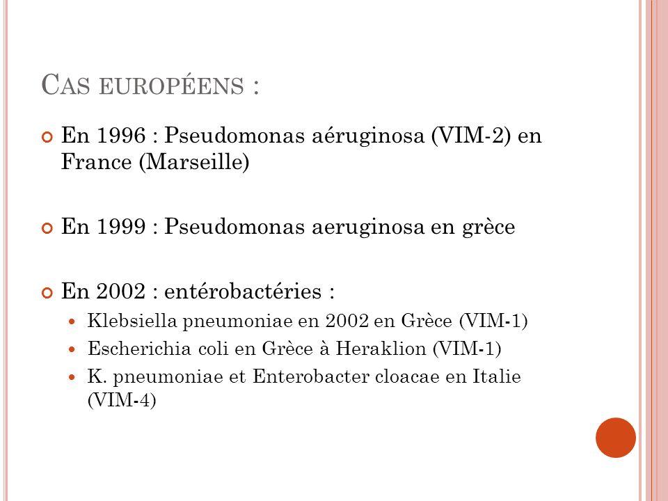 Cas européens : En 1996 : Pseudomonas aéruginosa (VIM-2) en France (Marseille) En 1999 : Pseudomonas aeruginosa en grèce.