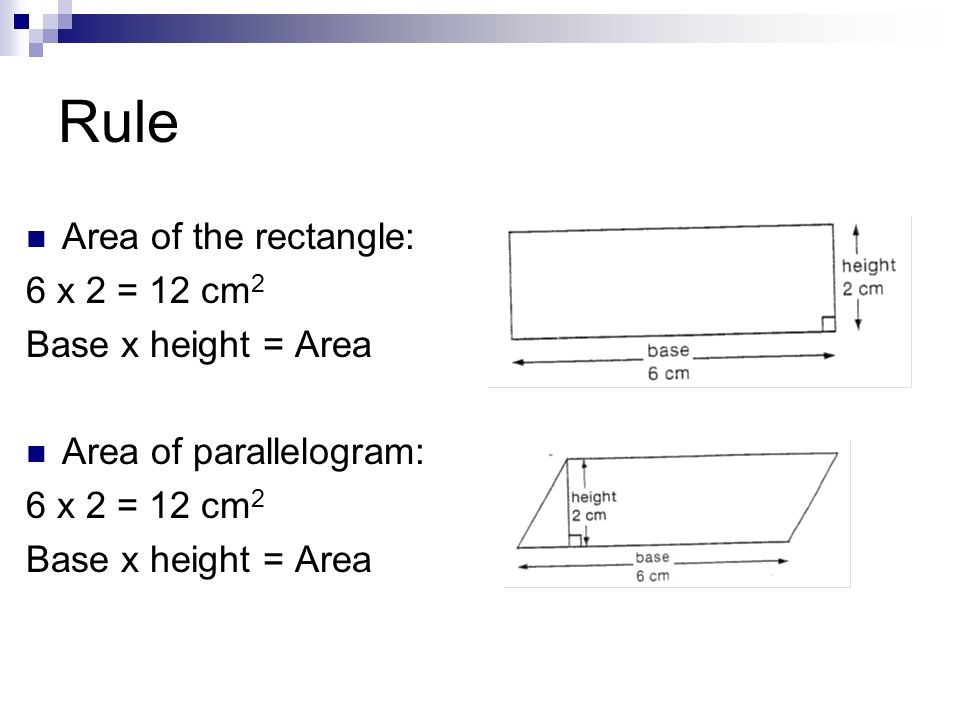 Rule Area of the rectangle: 6 x 2 = 12 cm2 Base x height = Area