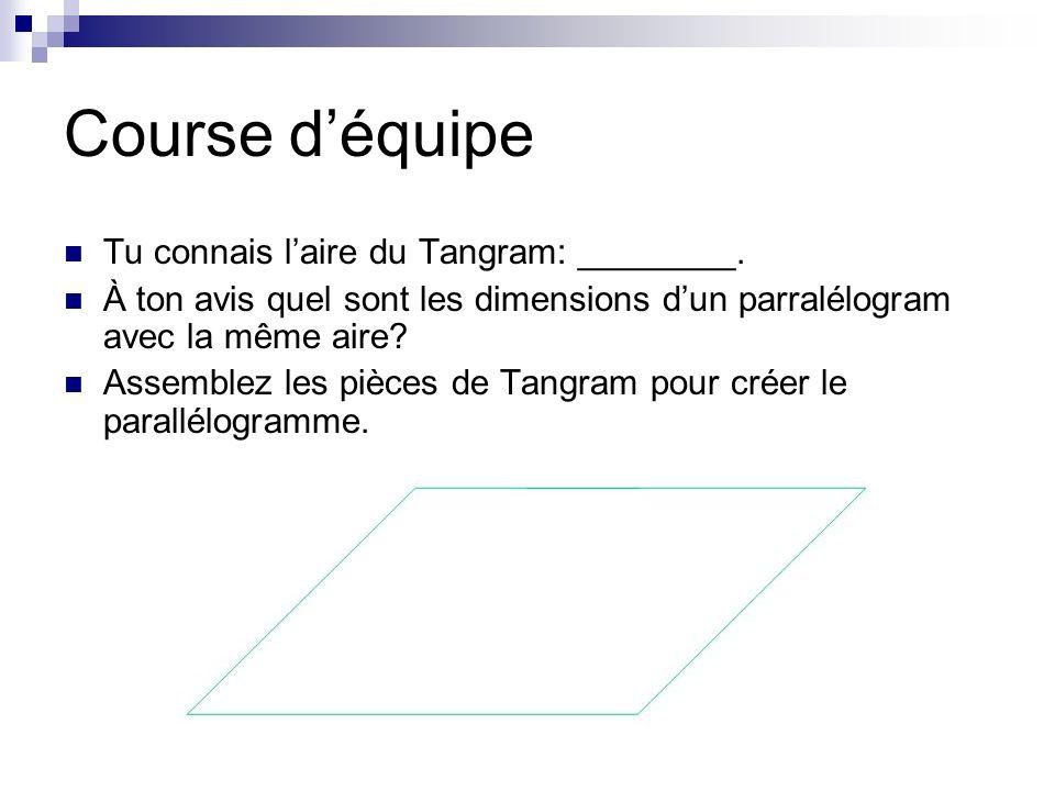 Course d'équipe Tu connais l'aire du Tangram: ________.