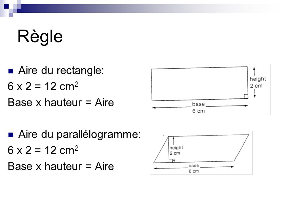 Règle Aire du rectangle: 6 x 2 = 12 cm2 Base x hauteur = Aire