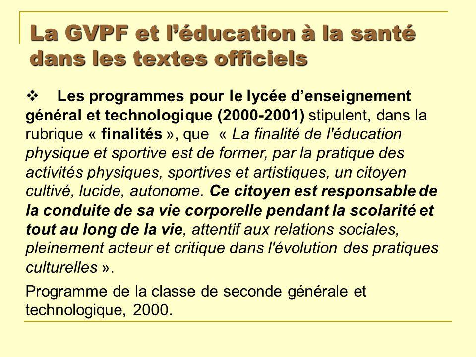 La GVPF et l'éducation à la santé dans les textes officiels