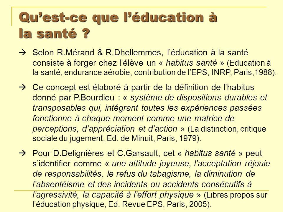 Qu'est-ce que l'éducation à la santé