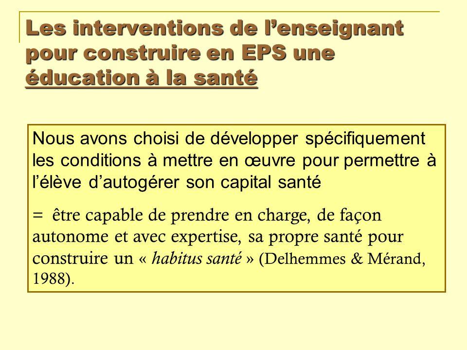 Les interventions de l'enseignant pour construire en EPS une éducation à la santé
