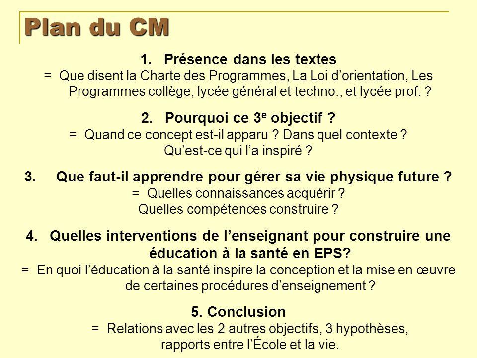 Plan du CM Présence dans les textes Pourquoi ce 3e objectif