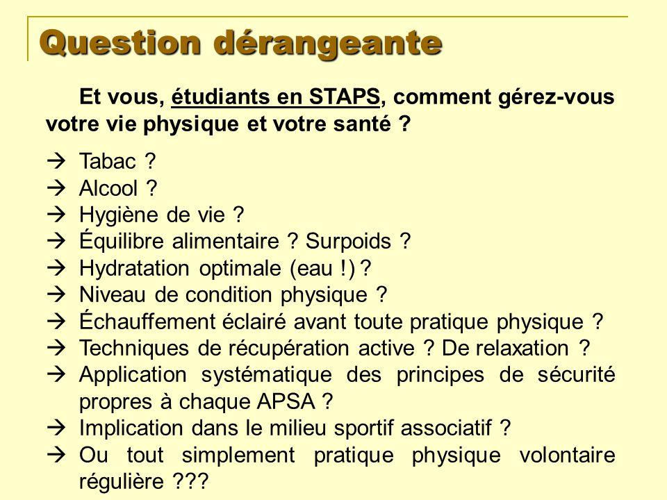 Question dérangeante Et vous, étudiants en STAPS, comment gérez-vous votre vie physique et votre santé