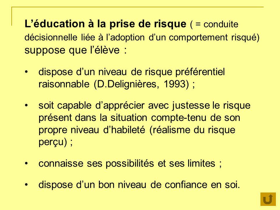 L'éducation à la prise de risque ( = conduite décisionnelle liée à l'adoption d'un comportement risqué) suppose que l'élève :