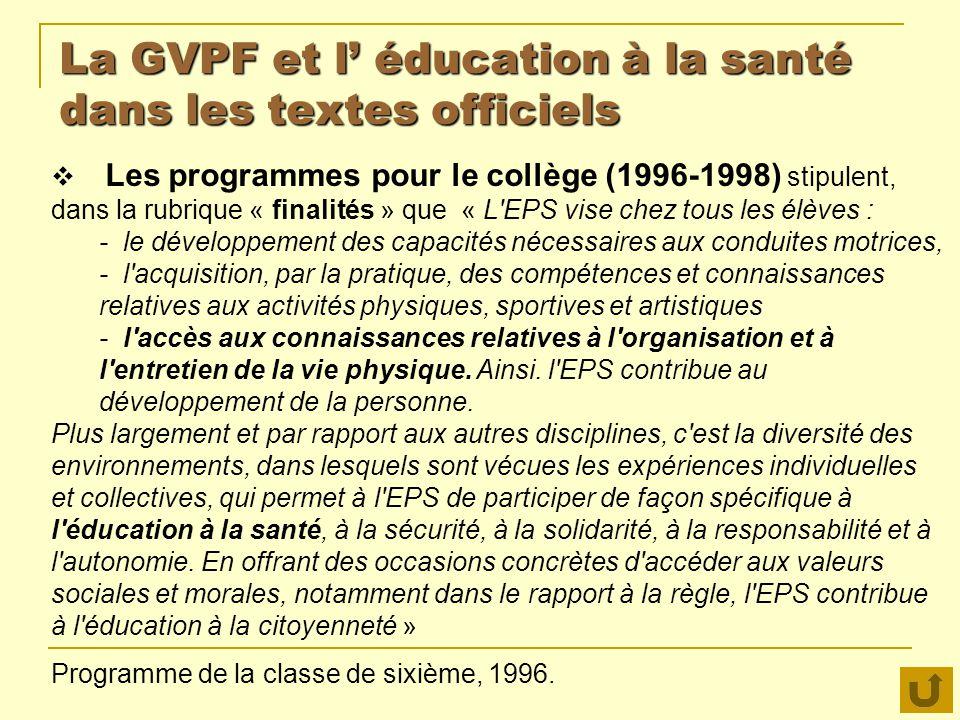 La GVPF et l' éducation à la santé dans les textes officiels