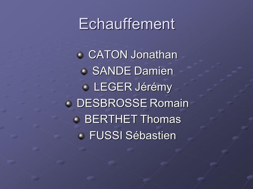 Echauffement CATON Jonathan SANDE Damien LEGER Jérémy DESBROSSE Romain