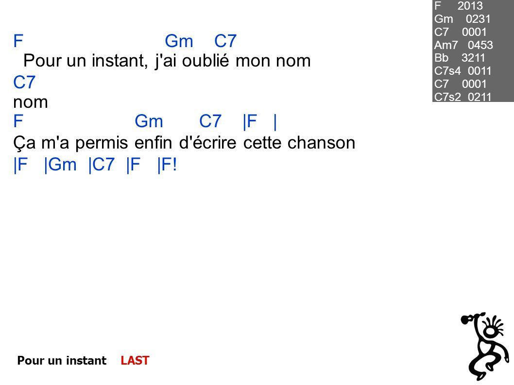 Pour un instant, j ai oublié mon nom C7 nom F Gm C7 |F |