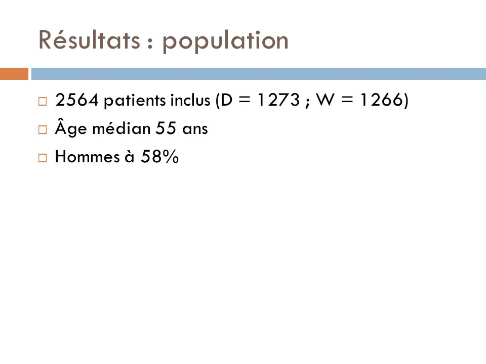 Résultats : population