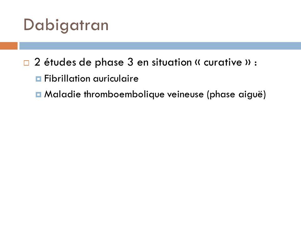 Dabigatran 2 études de phase 3 en situation « curative » :