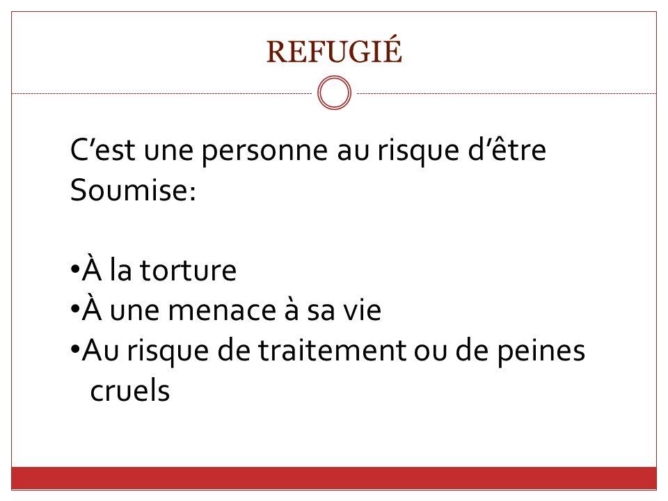 C'est une personne au risque d'être Soumise: À la torture