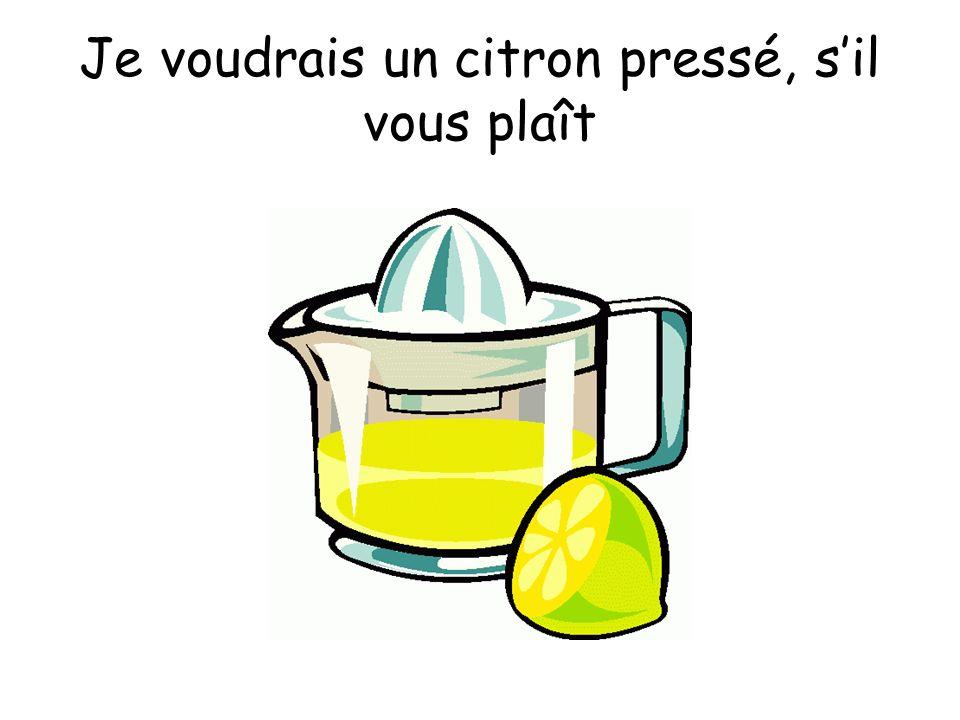 Je voudrais un citron pressé, s'il vous plaît