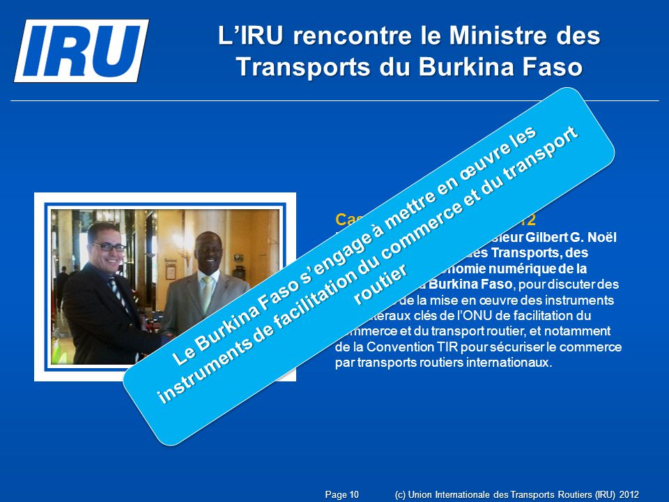 L'IRU rencontre le Ministre des Transports du Burkina Faso
