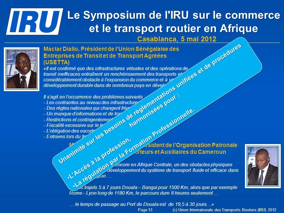 Le Symposium de l IRU sur le commerce et le transport routier en Afrique