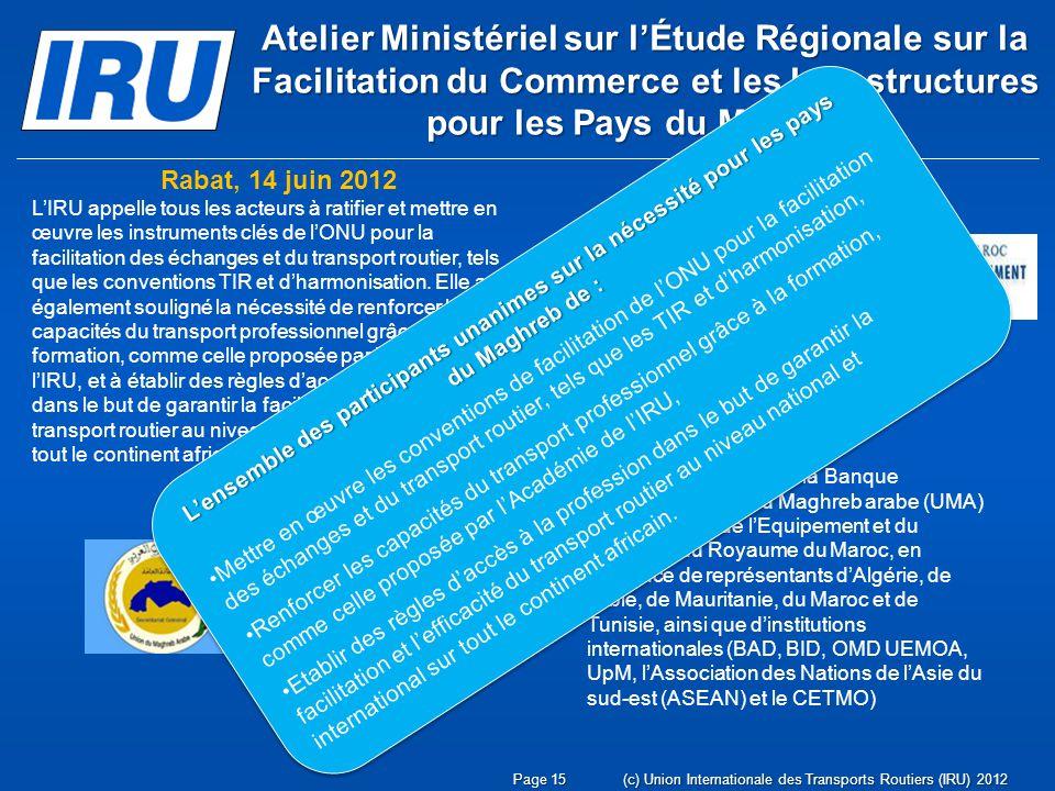 Atelier Ministériel sur l'Étude Régionale sur la Facilitation du Commerce et les Infrastructures pour les Pays du Maghreb