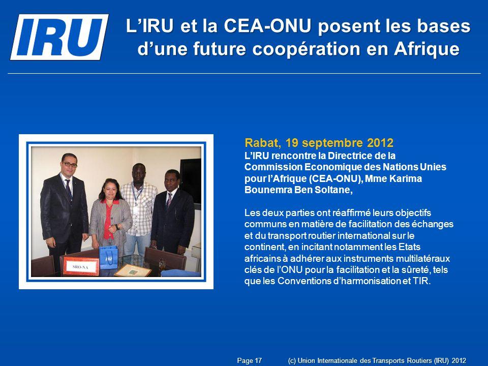 L'IRU et la CEA-ONU posent les bases d'une future coopération en Afrique
