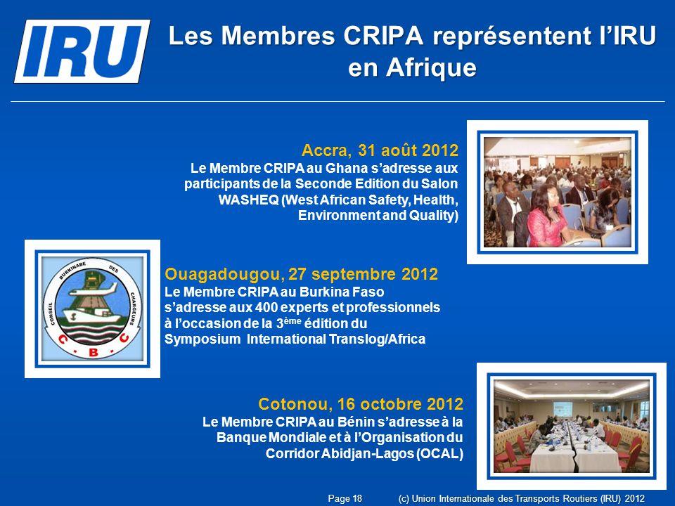 Les Membres CRIPA représentent l'IRU en Afrique