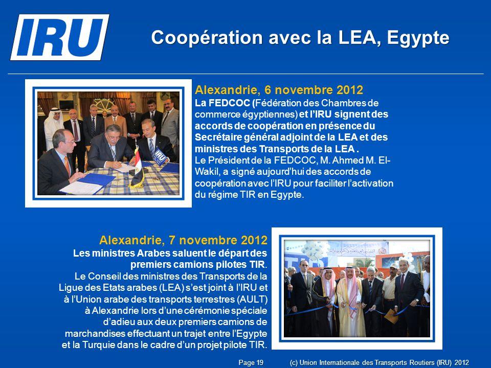 Coopération avec la LEA, Egypte