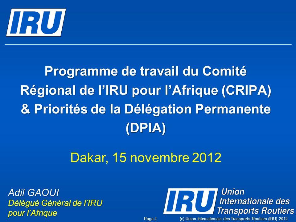 Programme de travail du Comité Régional de l'IRU pour l'Afrique (CRIPA) & Priorités de la Délégation Permanente (DPIA)
