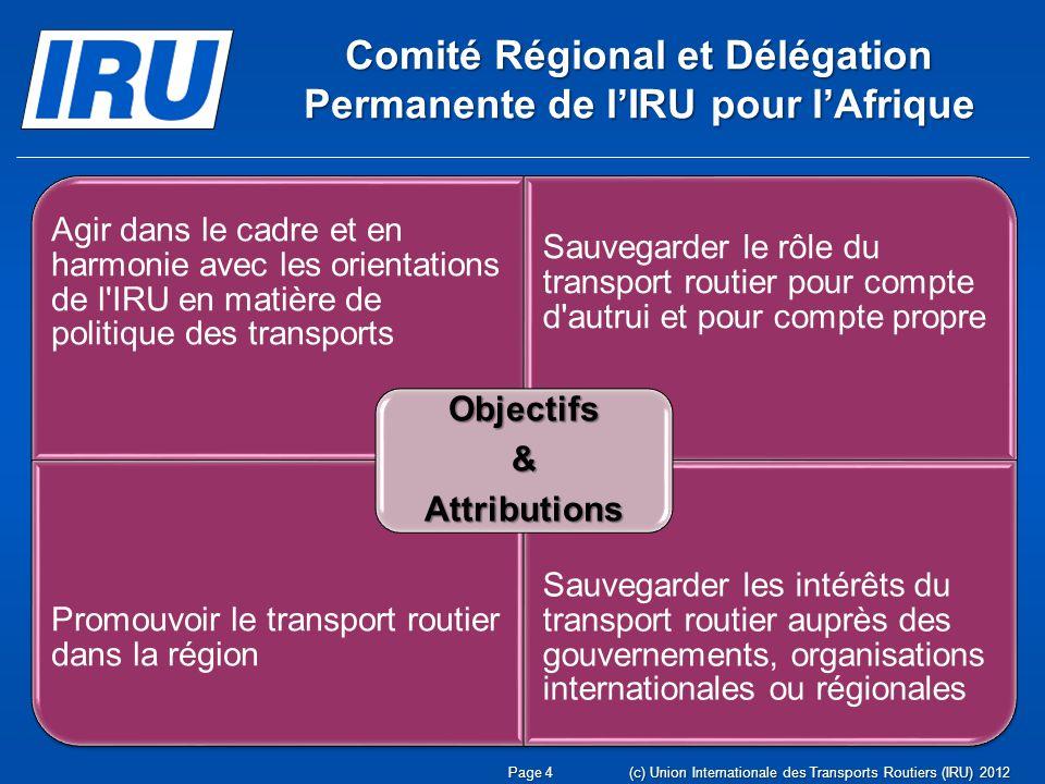Comité Régional et Délégation Permanente de l'IRU pour l'Afrique