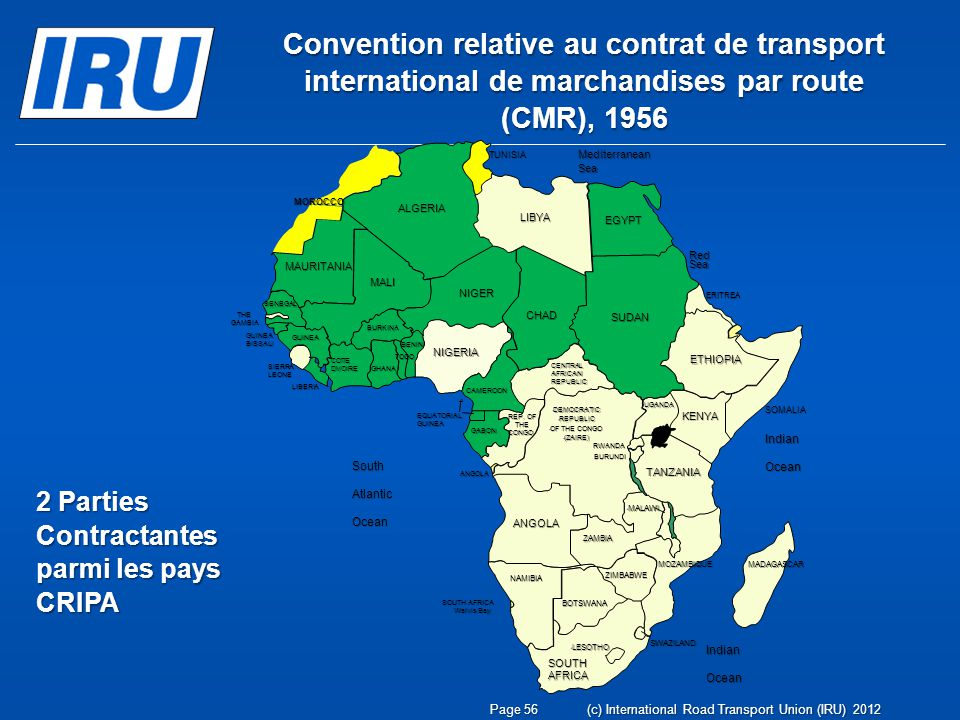 Convention relative au contrat de transport international de marchandises par route (CMR), 1956