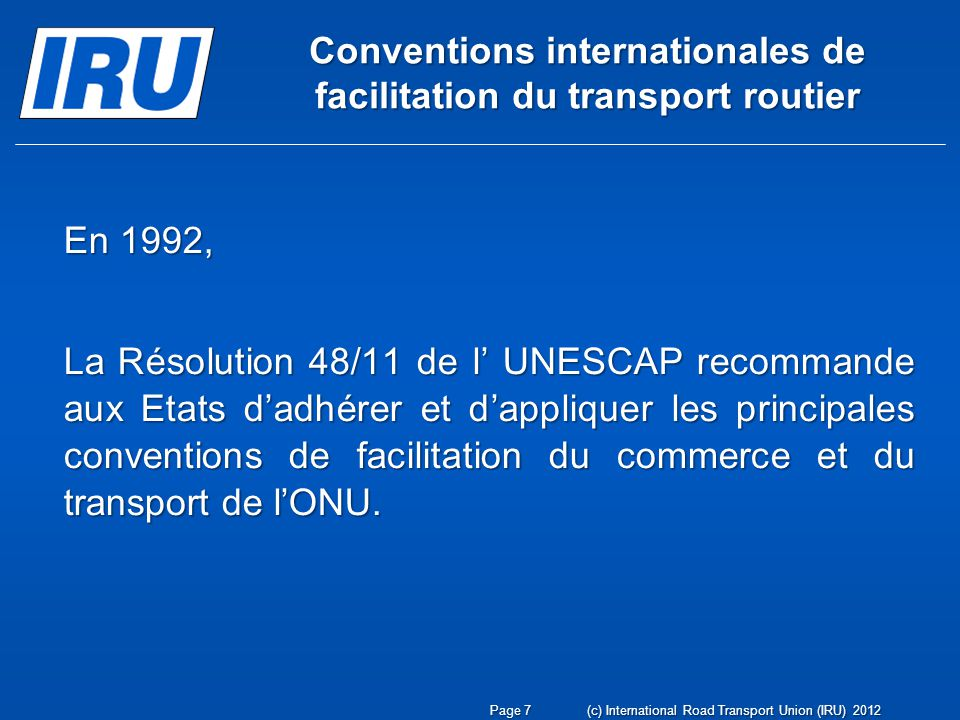 Conventions internationales de facilitation du transport routier