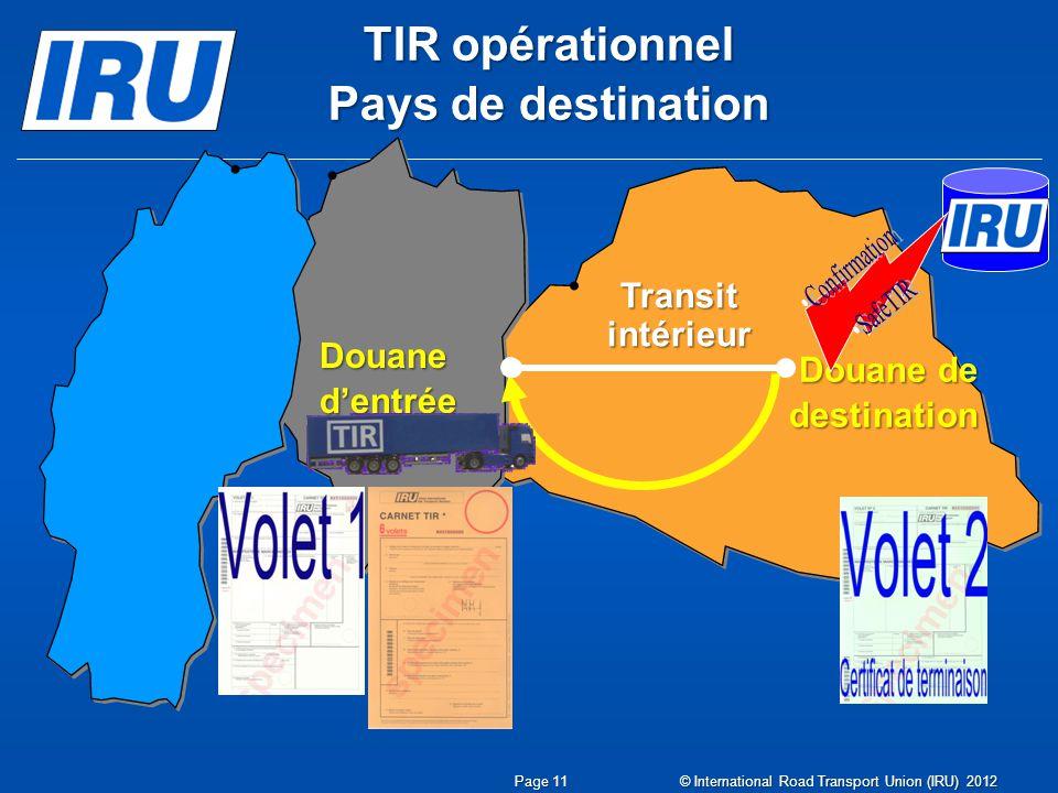 TIR opérationnel Pays de destination