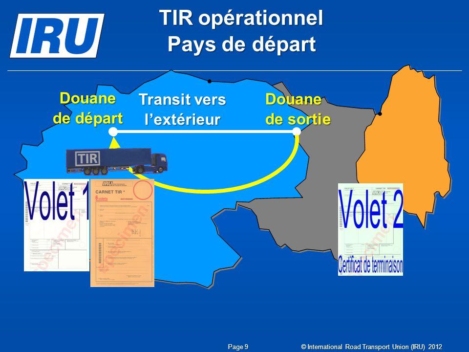 TIR opérationnel Pays de départ