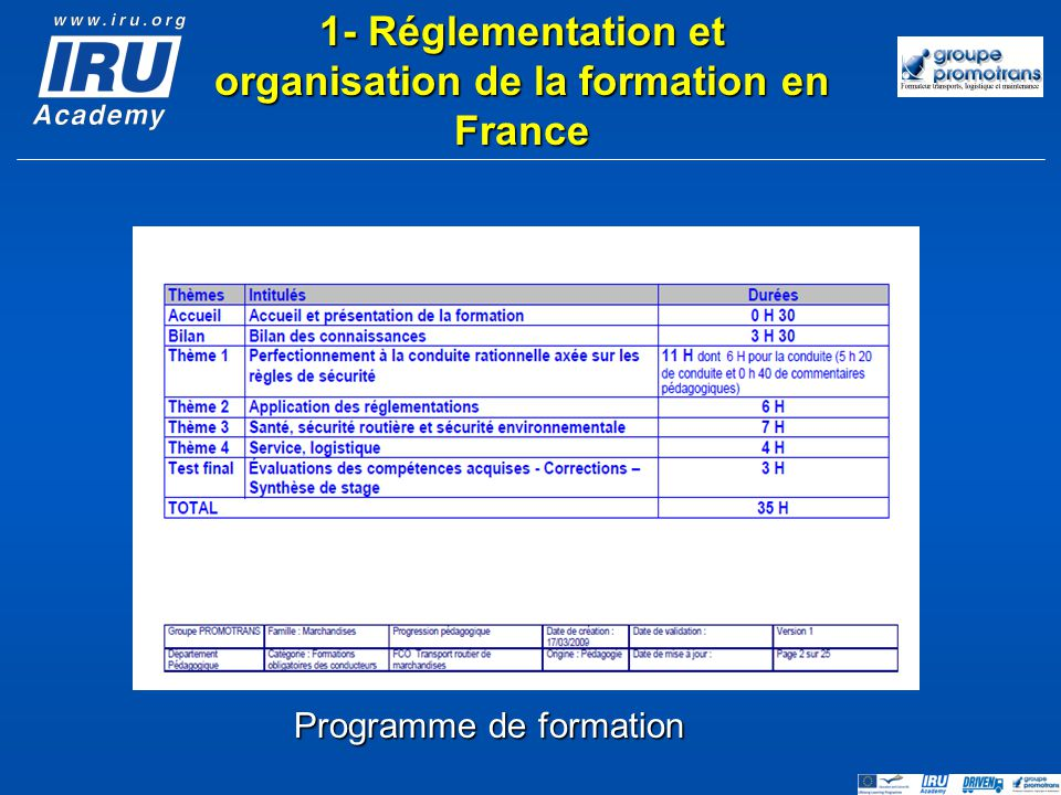 1- Réglementation et organisation de la formation en France