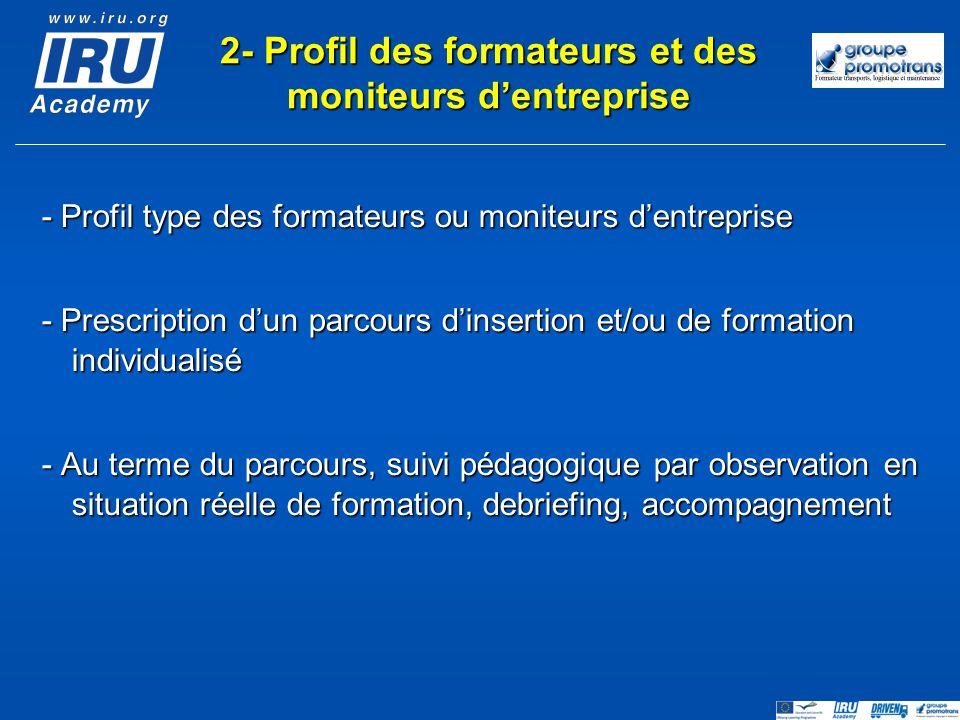 2- Profil des formateurs et des moniteurs d'entreprise