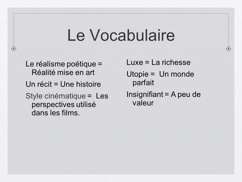 Le Vocabulaire Le réalisme poétique = Réalité mise en art