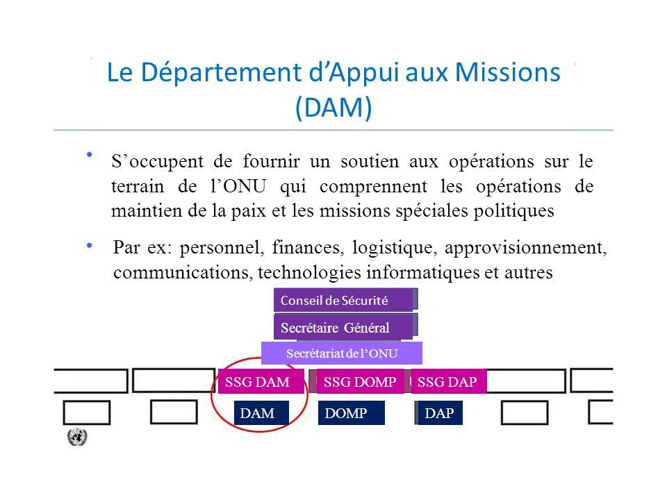 Le Département d'Appui aux Missions (DAM)