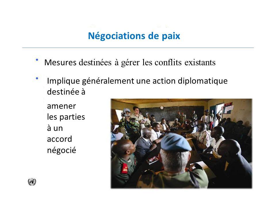 Négociations de paix Mesures destinées à gérer les conflits existants