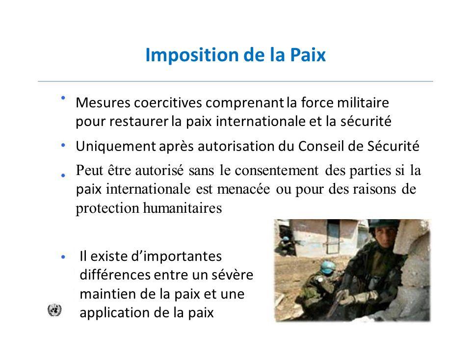 Imposition de la PaixMesures coercitives comprenant la force militaire pour restaurer la paix internationale et la sécurité.