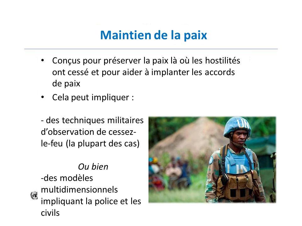 Maintien de la paixConçus pour préserver la paix là où les hostilités ont cessé et pour aider à implanter les accords de paix.