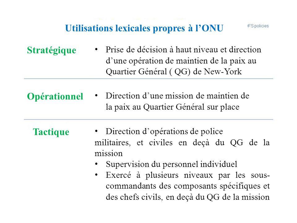 Utilisations lexicales propres à l'ONU