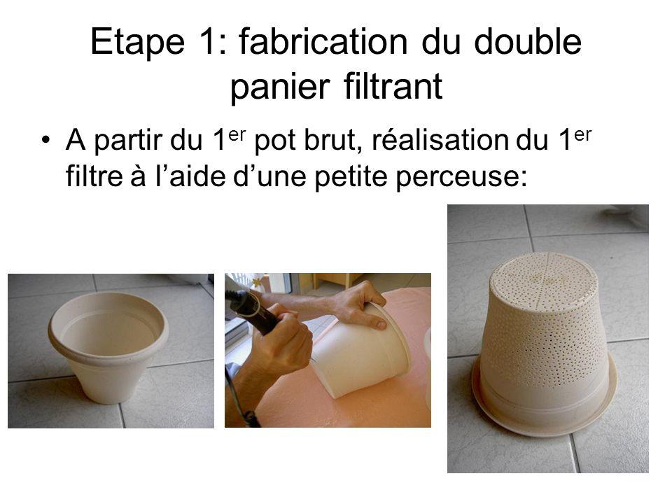 Etape 1: fabrication du double panier filtrant