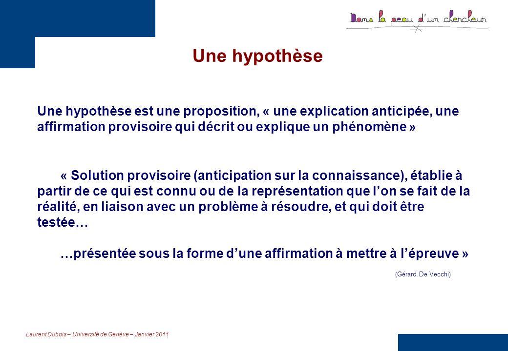 Une hypothèse Une hypothèse est une proposition, « une explication anticipée, une affirmation provisoire qui décrit ou explique un phénomène »