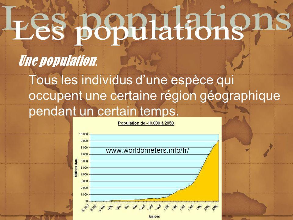 Les populations Une population: