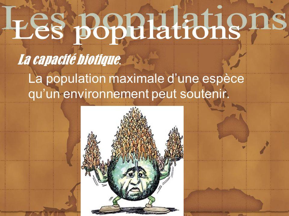 Les populations La capacité biotique: