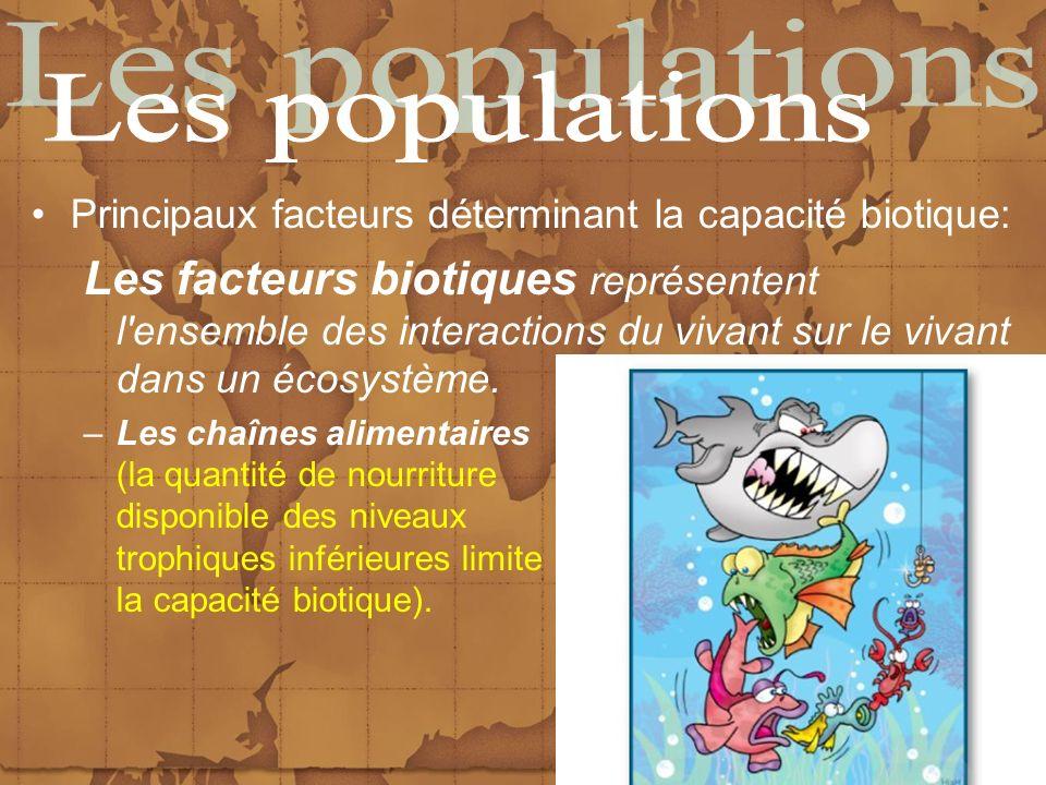 Les populations Principaux facteurs déterminant la capacité biotique: