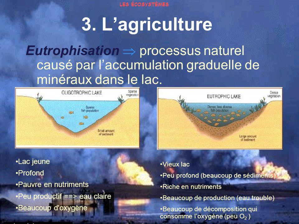 LES ÉCOSYSTÈMES 3. L'agriculture. Eutrophisation  processus naturel causé par l'accumulation graduelle de minéraux dans le lac.